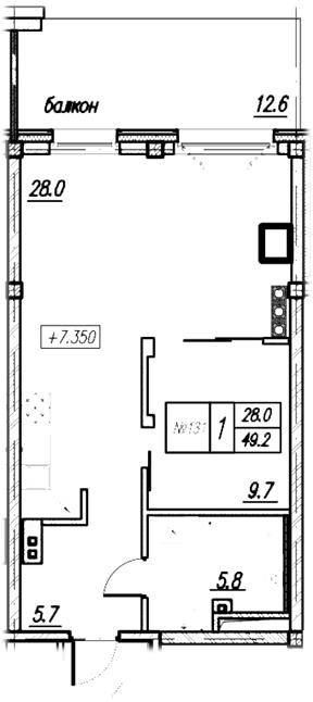Планировка Однокомнатная квартира площадью 61.8 кв.м в ЖК «