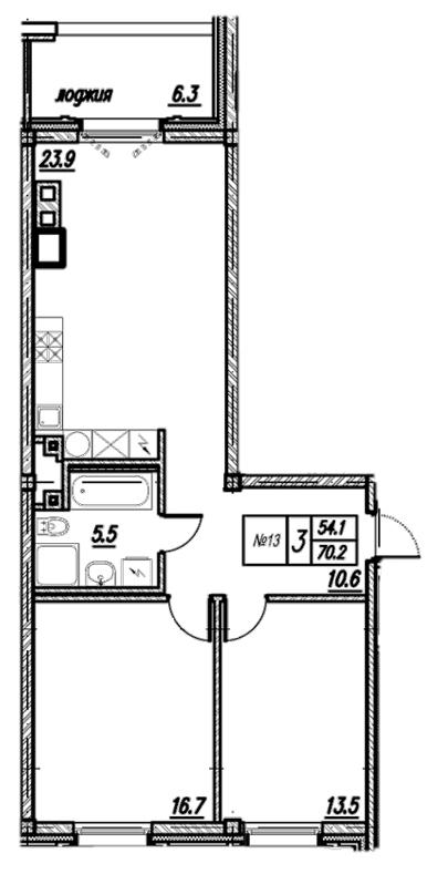 Планировка Двухкомнатная квартира площадью 77.3 кв.м в ЖК «