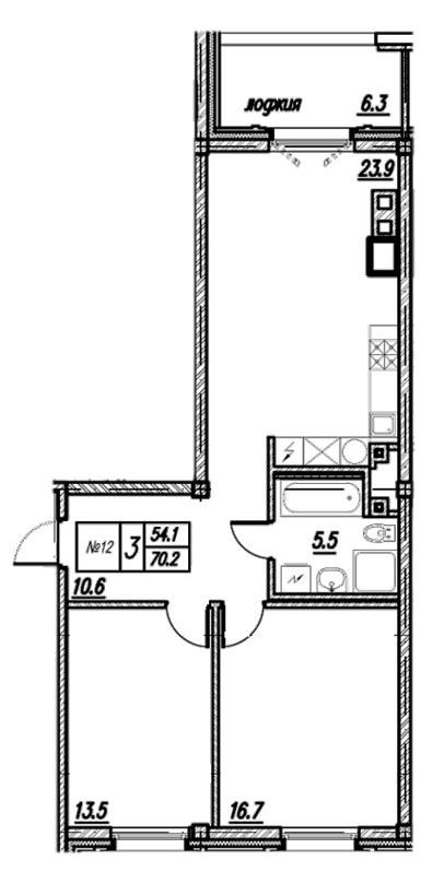 Планировка Двухкомнатная квартира площадью 76.5 кв.м в ЖК «