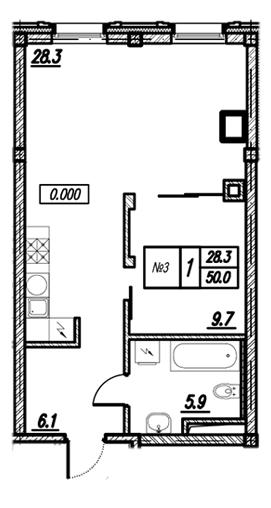 Планировка Однокомнатная квартира площадью 50 кв.м в ЖК «