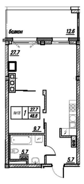 Планировка Однокомнатная квартира площадью 61.4 кв.м в ЖК «