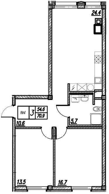 Планировка Двухкомнатная квартира площадью 70.9 кв.м в ЖК «